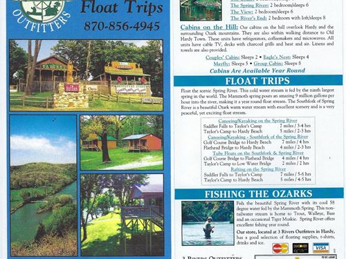 Canoe Rental Business Cabins Hardy : Hardy : Sharp County : Arkansas