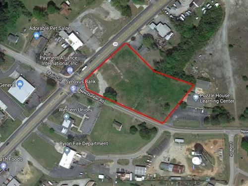 Prime Commercial Lot Available : Byron : Peach County : Georgia