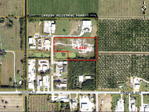 6.4 Acre Fenced Industrial Lot : Fort Pierce : Saint Lucie County : Florida