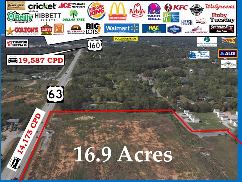 Commercial Land 950' Hwy Frontage : West Plains : Howell County : Missouri