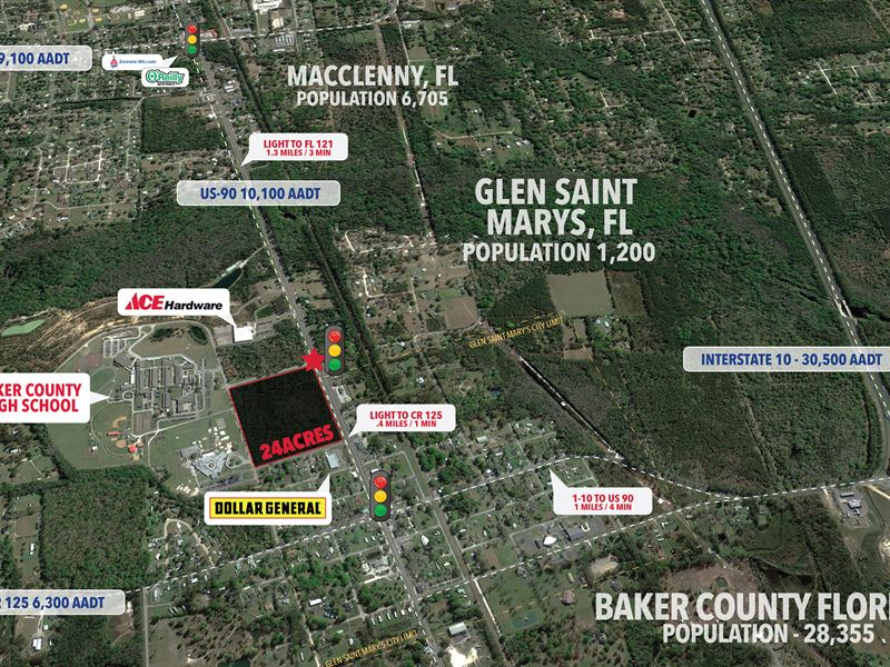 Commercial Land, 24 Acres : Macclenny : Baker County : Florida